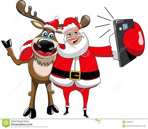 selfis de navidad reindeer christmas santa claus selfie hug isolated stock