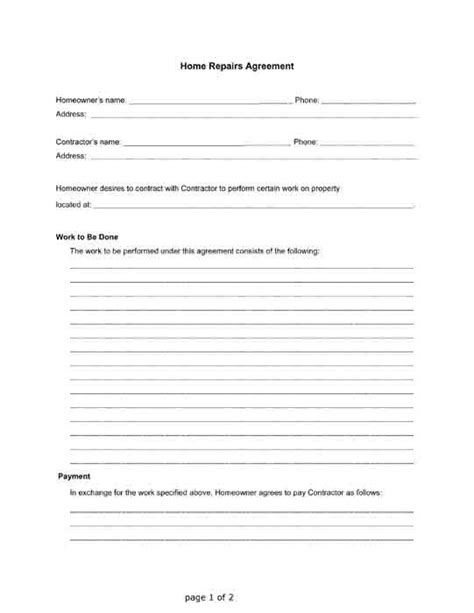 Home Repairs Agreement Between A Homeowner And A Contractor Free Pdf Printable Letter Free Simple Home Repair Contract Template