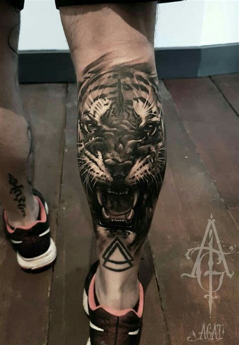 back of calf tattoo tiger on calf idea tiger ideas