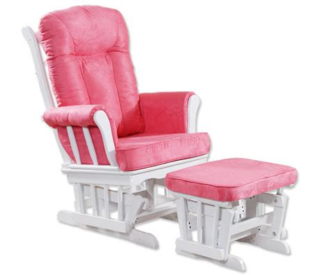 pink and white glider chair cushioned wooden glider chair with ottoman white