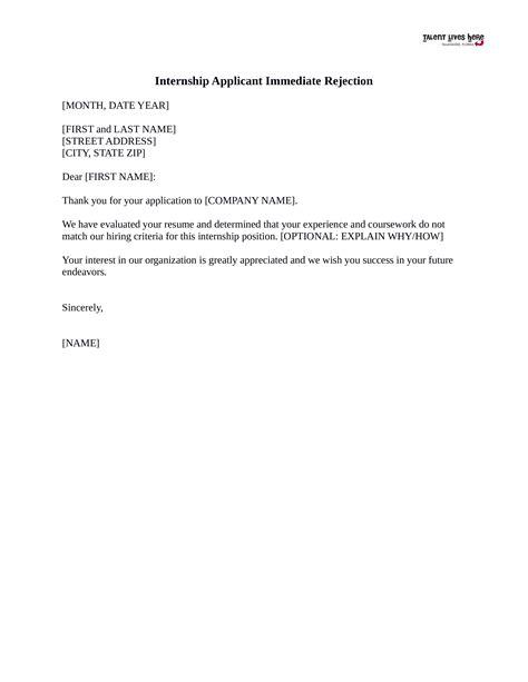 rejection letter internship templates