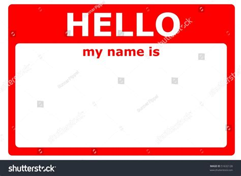signs my is hello my name sign blank white stock illustration 51632128