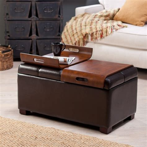 Square Ottoman Coffee Table Wood Ottoman And Coffee Table