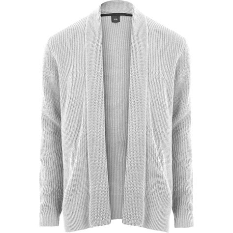 Open Front Light Cardigan light grey open front rib knit cardigan jumpers