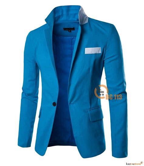 Jaket Jas Jas Blazer Casual Biru detil produk casual blazer pria slim fit bc113 biru