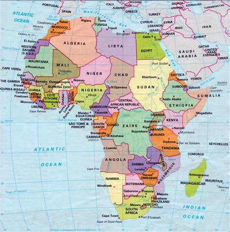 africa map of countries map of africa with capitals and countries