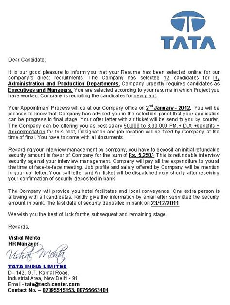 Offer Letter Tcs Ashiztooambitious October 2012