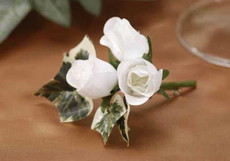 Rosebud Satin Mini 4 quot premade mini white rosebud boutonniere silk and satin