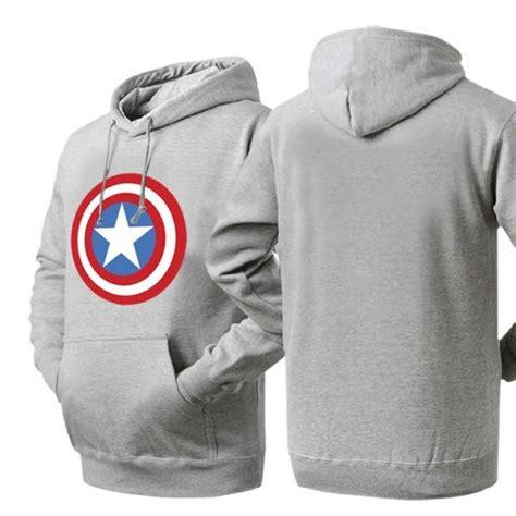 Hoodie Anak Anak Captain America captain america shield logo ash colored hoodie sweatshirt