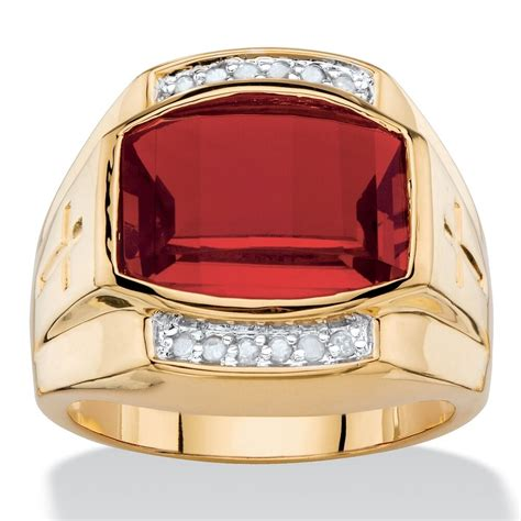 red ruby mens  gold diamond accent gp cross ring size