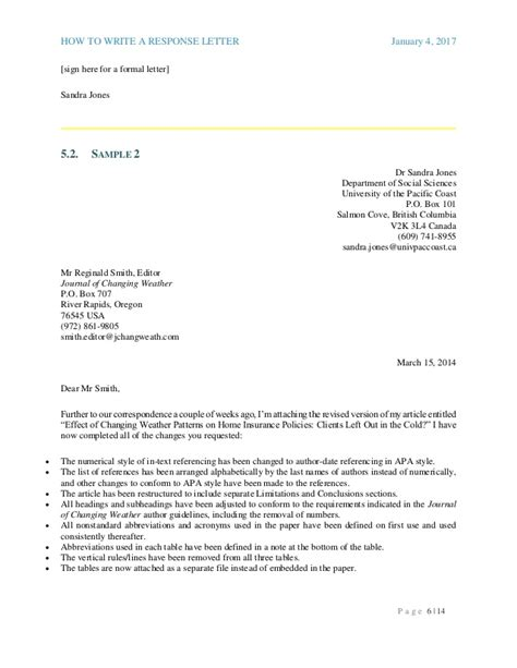 Response Letter Journal response letter to a journal 2017