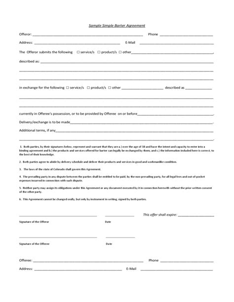 barter agreement template sle simple barter agreement free