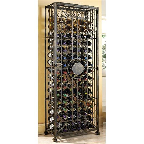 wine enthusiast 96 bottle antique bronze floor wine rack