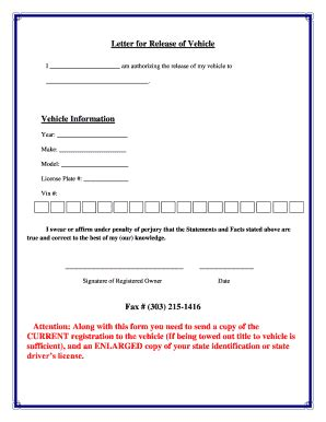 authorization letter to up car from impound vehicle release form from impound vehicle ideas