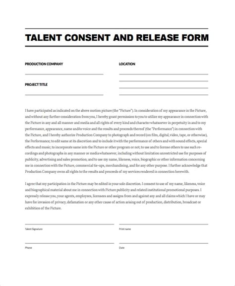 10 Talent Release Form Templates Sle Templates Talent Contract Template