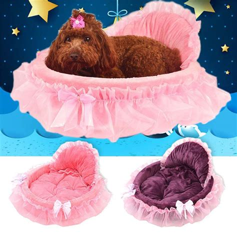 house pet dogs princess dog bed soft sofa for small dogs pink lace puppy
