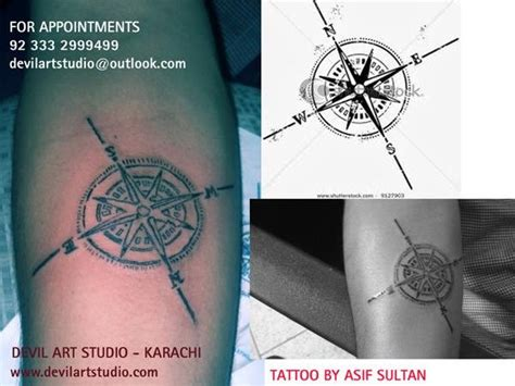 north star tattoo designs compass studio in karachi pakistan