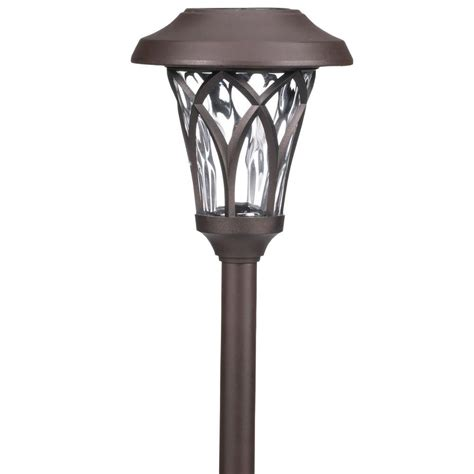 Walkway Lighting Fixtures Hton Bay Solar Bronze Outdoor Integrated Led Landscape Fan Cage Path Light With Water Glass
