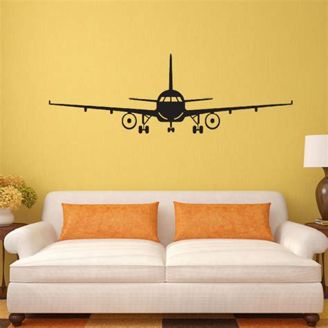 silhouette home decor vinyl removable commercial airliner wall decal home decor