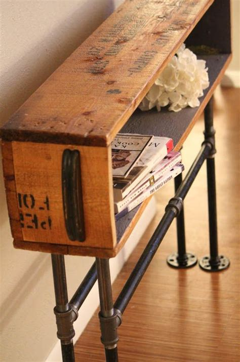 diy charging table industrial table diy wood crate plumbing pipe d i y