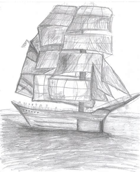 boat drawing for beginners drawing of a tall boat by lonelydesigns on deviantart