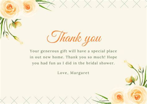 template for thank you card bridal shower customize 170 bridal shower thank you card templates