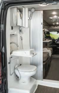 Sliding Door Bathroom Wall Cabinet Travato Interior Bedroom And Bathroom Winnebago Rvs