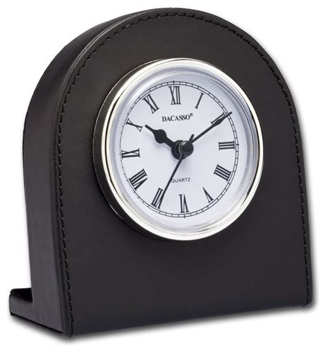 Classic Black Leather Desk Clock With Silver Accents Modern Desk Clocks