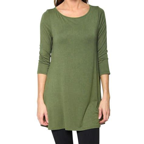 T Shirt 3 4 casual s 3 4 sleeve cotton t shirt tunic