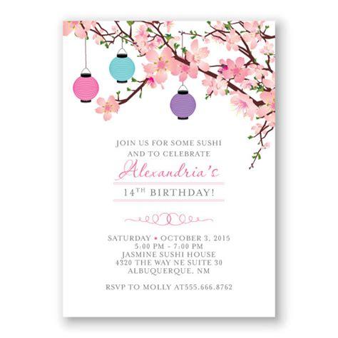 Cherry Blossoms Wedding Invitations Cherry Blossoms Wedding Invitation Lavender Zazzle Cherry Cherry Blossom Invitation Template Free