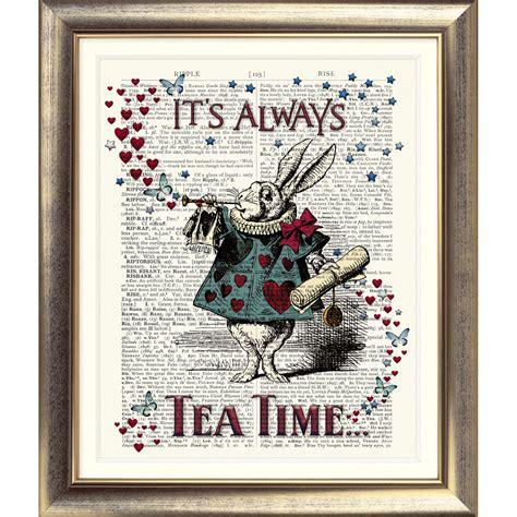 Art Print On Original Antique Book Page Vintage Alice In Wonderland White Rabbit Ebay Prints On Book Pages