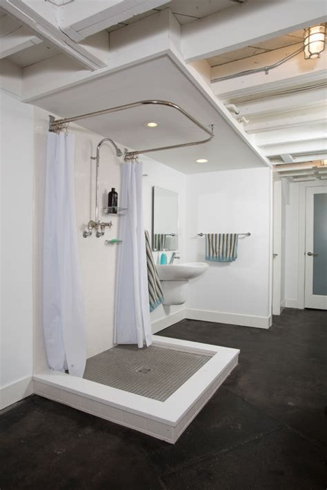 open bathroom concept where is the toilet in this basement open concept bathroom