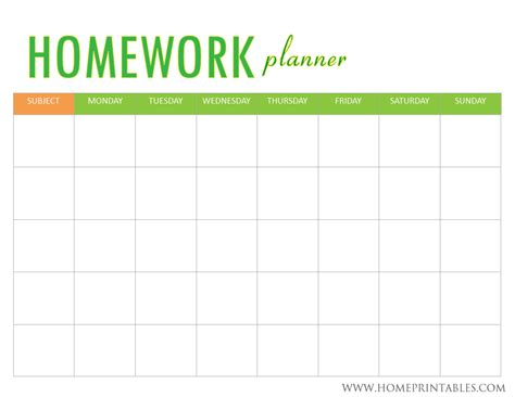 Printable Homework Planner Template | looking for a homework planner home printables