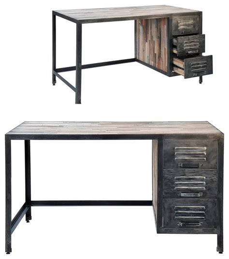 industrial desk with hutch spike industrial 3 drawer desk eclectic desks and