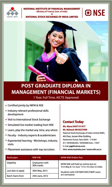 Mba In Financial Markets Nse by Rah Dasera Nifm Nse Pg Dip In Management Financial