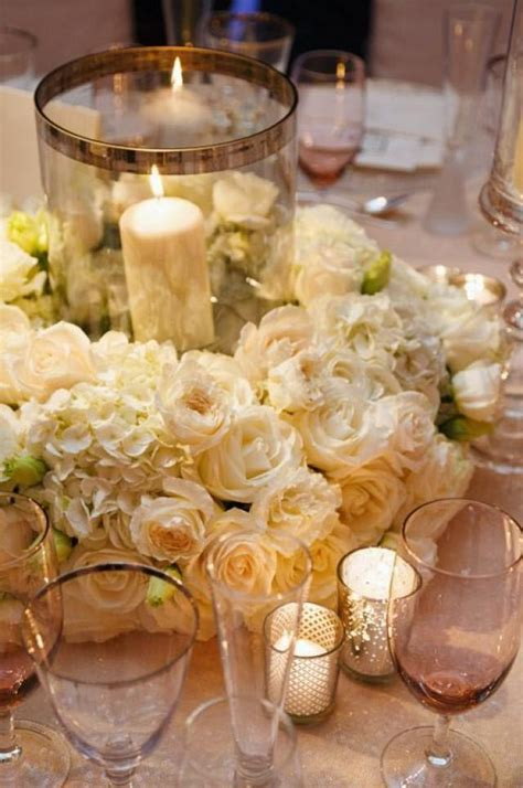 wedding centerpieces with candles uk 2 white carnations hydrangeas and roses create an exquisite