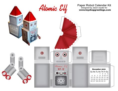 How To Make A Robot Out Of Paper - santa robot atomic paper cutout