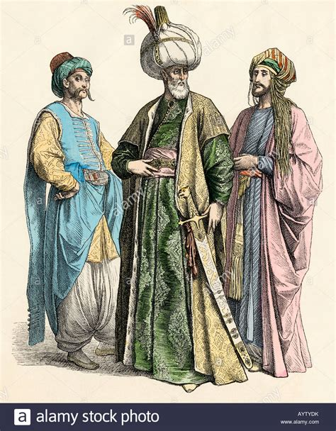 Sultans Of Ottoman Empire by Turkish Sultan And Officials Of The Ottoman Empire Stock