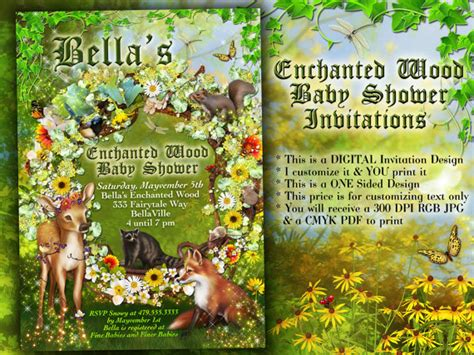 Enchanted Forest Baby Shower Invitations by Enchanted Forest Shower Baby Shower Invitation Forest Theme