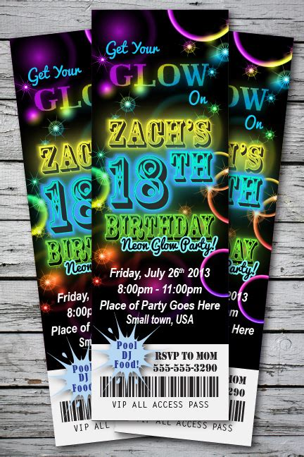 glow neon birthday party invitation you print cards