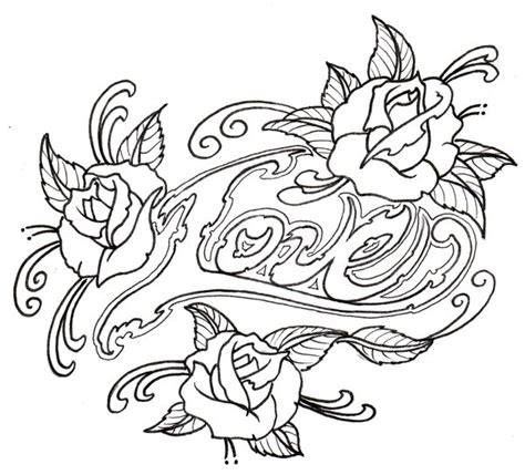 tattoo love coloring pages adult outline