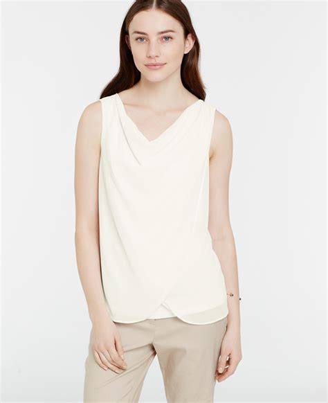 draped cowl neck blouse ann taylor draped cowl neck top in white lyst