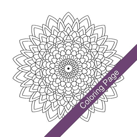 abstract sunflower coloring page mandala adult coloring page pdf printable drawing abstract