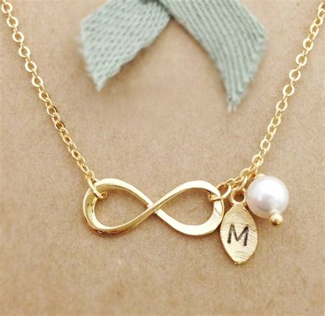 infinity bff necklace infinity necklace with leaf initial charm personalized