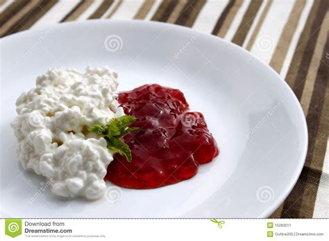 cottage cheese and jam stock image image 15260011