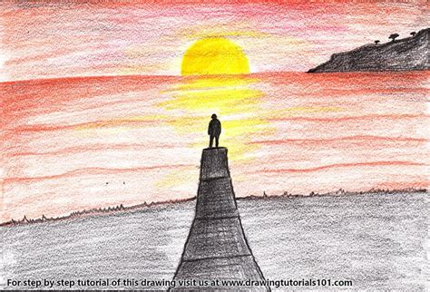 how to draw a sunset with colored pencils sunset scenery colored pencils drawing sunset scenery