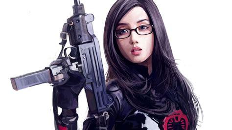 wallpaper anime girl with gun cute anime girl with gun 1080p hd wallpaper places to