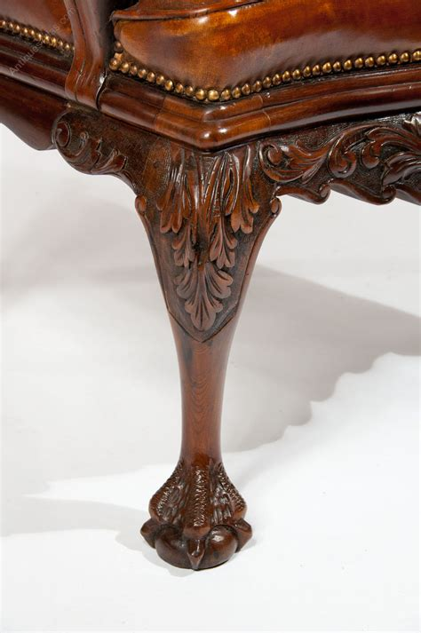 carved armchair 19th century walnut carved leather armchair antiques atlas