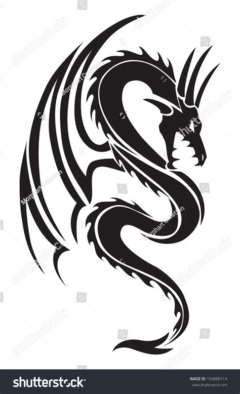 flying dragon tattoo design vintage engraved stock vector