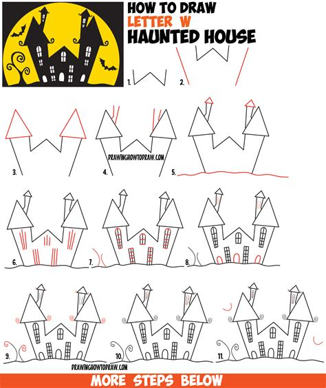 cartoon house drawing in 7 easy steps how to draw a cartoon haunted house step by step in